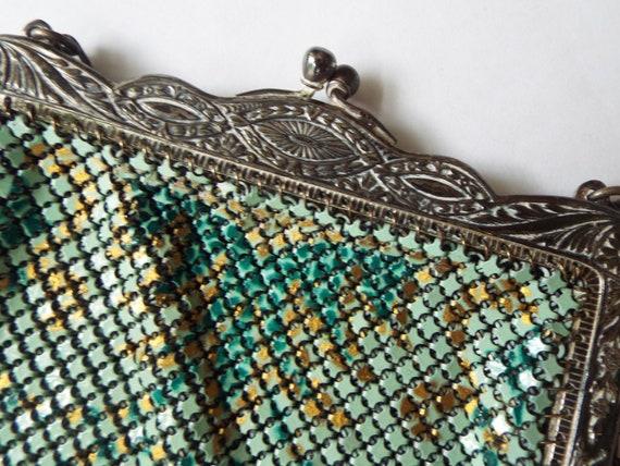 Art Nouveau multi color enamel mesh flapper purse… - image 3