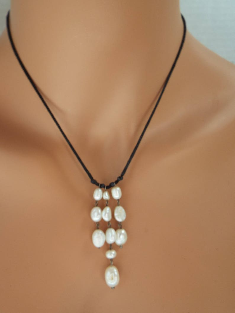 43e9669215fe2 waterfall cultured pearl Y necklace black cord Rustic bride Boho freshwater  pearls