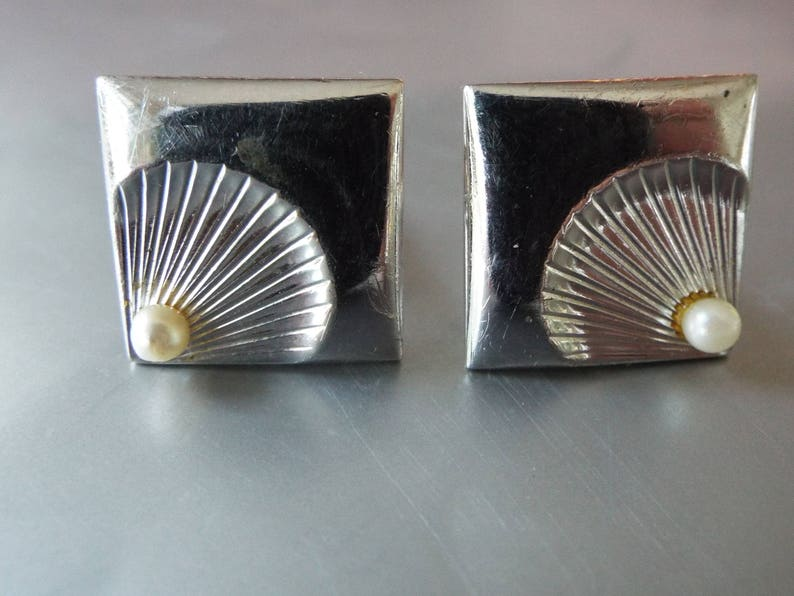 Swank Retro silver plated square cultured pearl shell cuff links modernist tux tuxedo set groomsmen