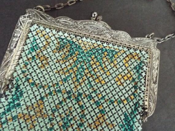 Art Nouveau multi color enamel mesh flapper purse… - image 6