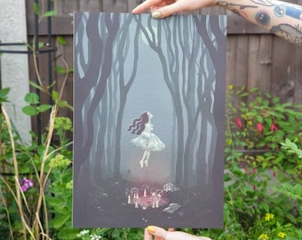 Seek and you shall find - A3 Print - Witch & Halloween Illustration - Creepy and Spooky Art Print - Geeniejay