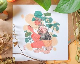 Mushroom Jogger Square Print - Illustration Print - Cottagecore Aesthetic - Mushroom & Nature - Geeniejay
