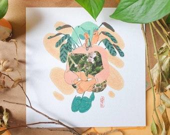 Spring Skirt Square Print - Illustration Print - Cottagecore Aesthetic - Mushroom & Nature - Geeniejay