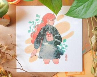Winter Fashion Square Print - Illustration Print - Cottagecore Aesthetic - Mushroom & Nature - Collage - Geeniejay