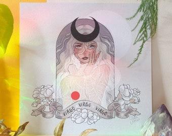 Virgo Season Square Print - Illustration Print - Cottagecore Aesthetic - Astrology & Zodiac - Star Sign - Geeniejay