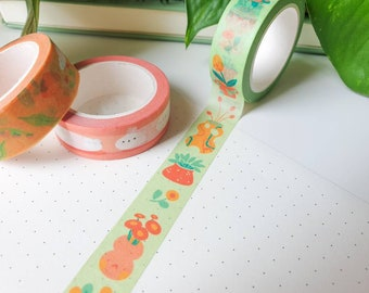 Plants & Vases Washi Tape - Cute Stationery - Flower Stationery - Happy Stationery - Paper tape - Bright and Colourful - By Geeniejay