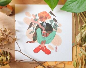 Autumn Sweater Square Print - Illustration Print - Cottagecore Aesthetic - Mushroom & Nature - Collage - Geeniejay