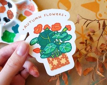 Nasturtium Autumn Flowers - Matte Sticker - Plant sticker - Vinyl Sticker - Autumnal and Fall - Cute & Kawaii Stationery - Geeniejay