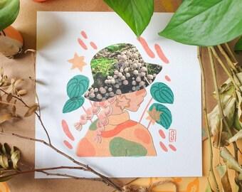 Fairy Inkcap Hat Square Print - Illustration Print - Cottagecore Aesthetic - Mushroom & Nature - Collage - Geeniejay
