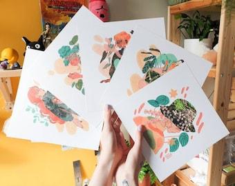 FULL SET Collage Square Print - Illustration Print - Cottagecore Aesthetic - Mushroom & Nature - Geeniejay