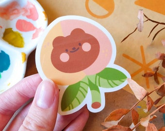 Cute Peach Bear Sticker 7cm - Vinyl Sticker - Autumn Vibes - Cosy artwork - Cute & Kawaii Stationery - Journalling - Geeniejay