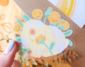 Dandelion Bunny Transparent Sticker 8cm - Rabbit Lover - Vinyl Sticker - Rabbit Sticker - Cute & Kawaii Stationery - Geeniejay