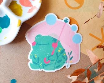 B GRADE Umbrella Frog Transparent Sticker 8cm - Frog Lover - Vinyl Sticker - Animal Sticker - Cute & Kawaii Stationery - Geeniejay