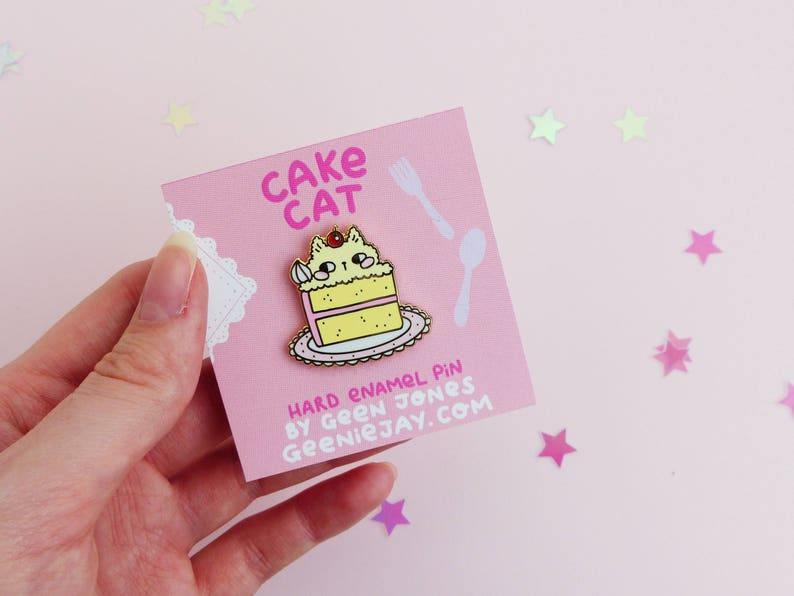1b0c2c59800 Enamel Pin Cat Cake Cat 30mm Hard Enamel Pin Pink Cute