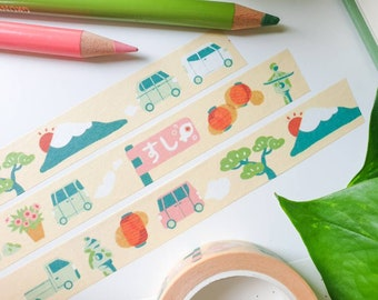 Strolling Around Japan Washi Tape - Cute & Kawaii Stationery - Japanese Stationery - Travel Stationery - Paper tape - Fuji - By Geeniejay