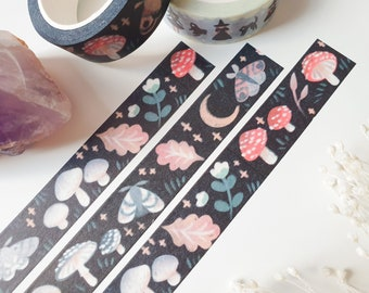 Mushrooms, Moths & Moons Washi Tape - Cute Stationery - Mushroom Stationery - Cottagecore Stationery - Paper tape - Black - By Geeniejay
