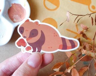 B GRADE Raccoon Transparent Sticker 8cm - Autumn & Fall - Vinyl Sticker - Autumnal Sticker - Cute and Kawaii Stationery - Geeniejay