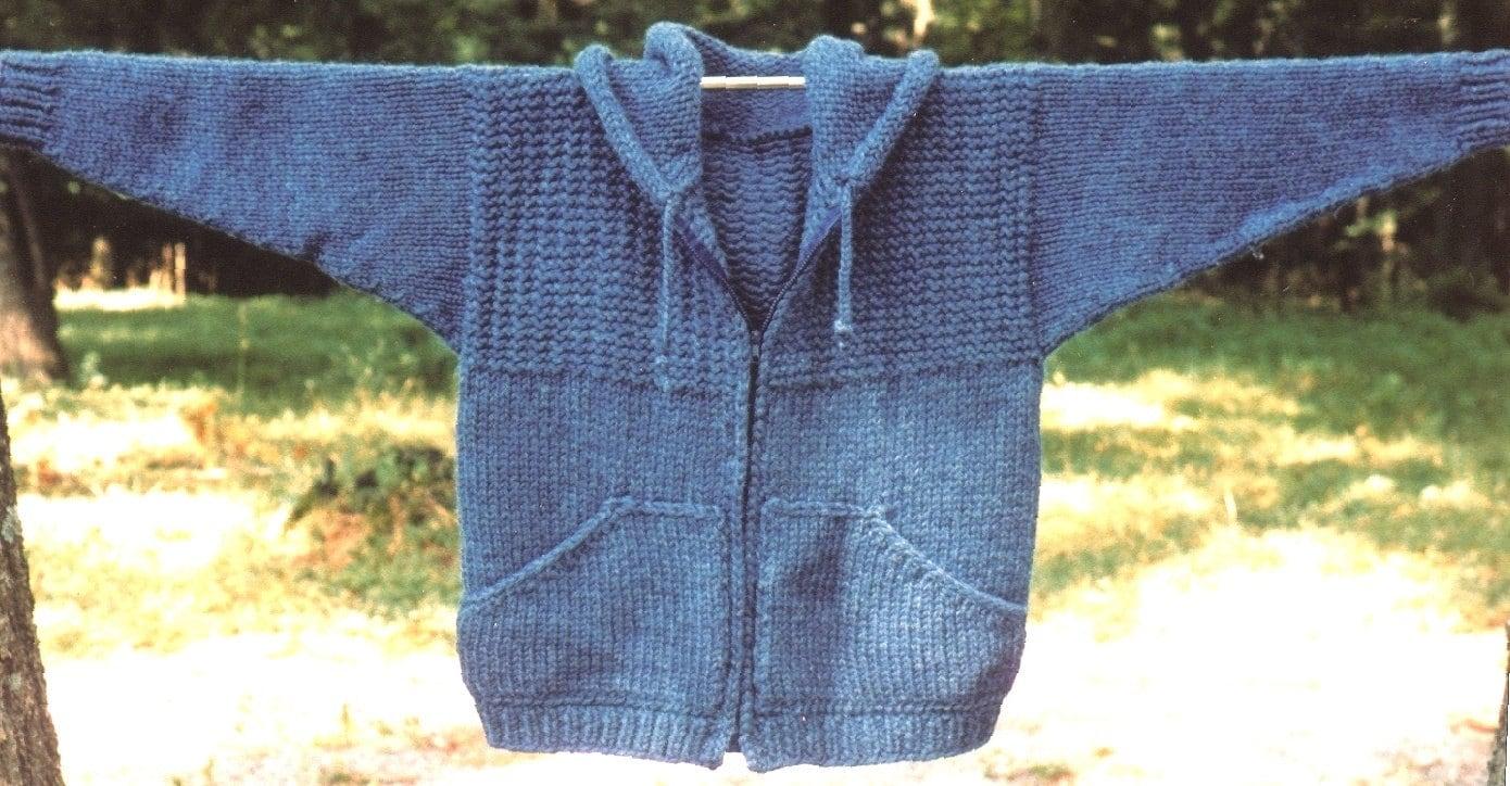 Knitting Pattern-Sweatshirt Jacket, men\'s women\'s knit hoodie ...
