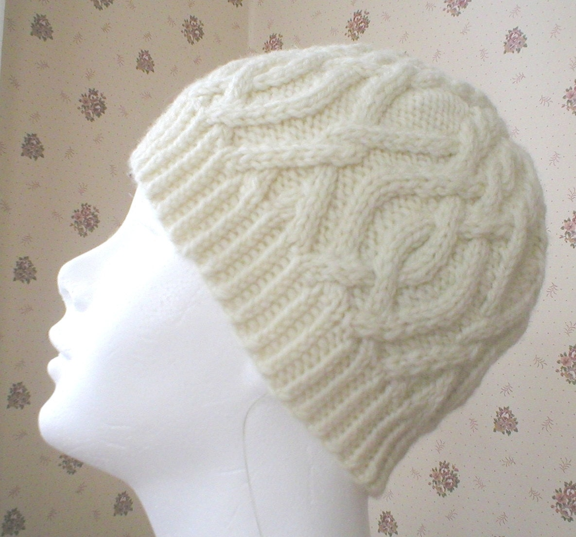 Knitting Pattern-Interlocking Cable Hat, knit women aran cable hat ...