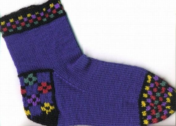 Knitting Pattern Double Nine Patch Clog Socks Pdf Pattern Etsy