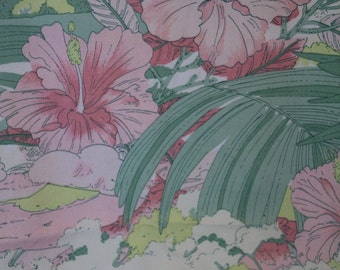 Retro French tropical print curtain, vintage, pink and green fabric, French vintage fabric French drapery French bedroom fabric, French home