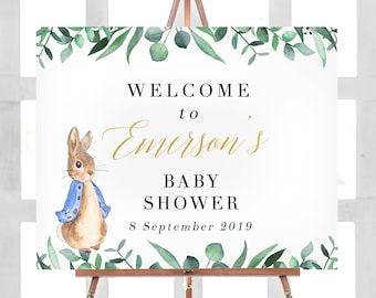 5d3e51687 Peter Rabbit party, Peter Rabbit Welcome sign girl, Peter Rabbit Baby  shower decorations, Baby shower printables, Custom baby shower banner
