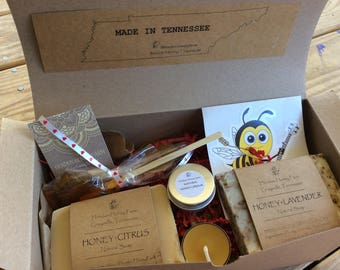 MADE IN TENNESSEE Gift box-Hendon Honey Farm products-soaps, candles, lip balm, honey pops