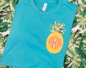 Teal tshirt or sweatshirt embroidered with pineapple applique with monogram inside