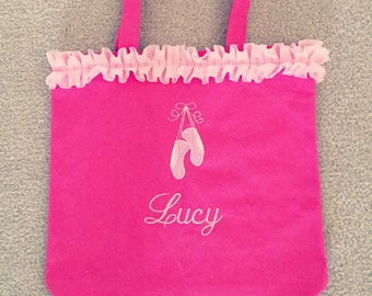 Pink ballet bag with embroirdered applique of ballet slippers and name embroidered below slippers