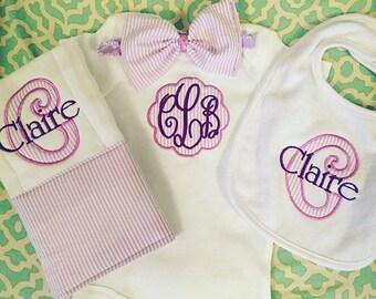 seersucker baby girls scalloped monogrammed onesie with matching hairbow, burp cloth and bib. 4 piece set