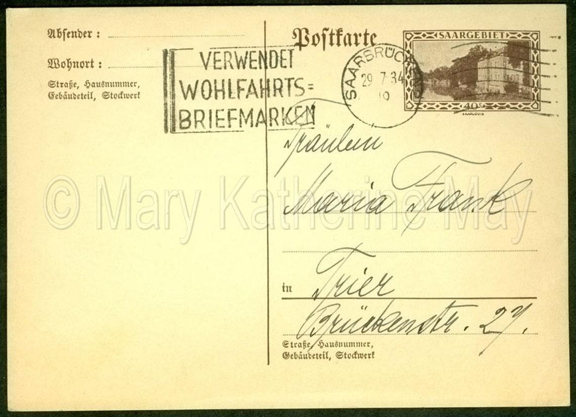 1934 Saarland Saarbrucken Alemania Postal | Etsy