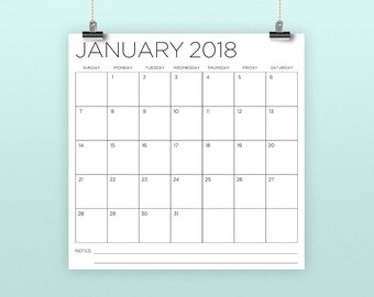 square 2018 calendar template instant download large monthly printable minimal desk calender prints up to 12 x 12 inches