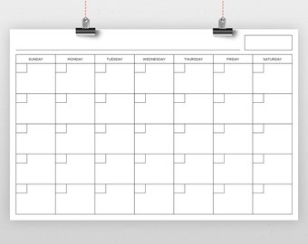 24 x 36 Inch Blank Calendar Page Template   INSTANT DOWNLOAD   Includes S-S or M-S Monthly Printable Desk Wall Calender Print Ready