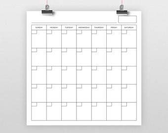 Square 12x12 Inch Blank Calendar Page Template   INSTANT DOWNLOAD   Includes S-S or M-S Monthly Printable Desk Wall Calender Print Ready