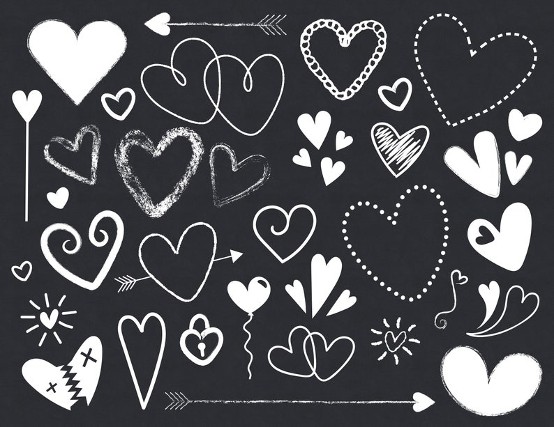 Black and White Silhouette Scribble Heart Clip Art Set  PNG image 0