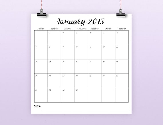 Square 2018 Calendar Template INSTANT DOWNLOAD Large | Etsy