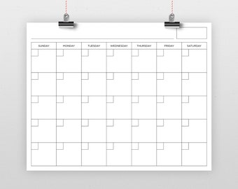 16 x 20 Inch Blank Calendar Page Template   INSTANT DOWNLOAD   Includes S-S or M-S Monthly Printable Desk Wall Calender Print Ready