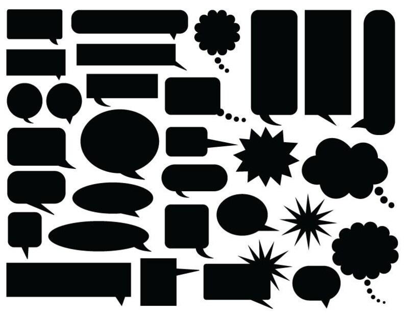 Comic Speech Bubble Clip Art  PNG SVG VECTOR Illustration Art image 0