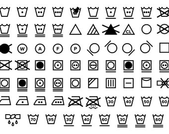 Laundry Care Symbol Icons Set   PNG SVG VECTOR Transparent Black and White Textile Instruction Label Clip Art   Digital Icons Commercial Use