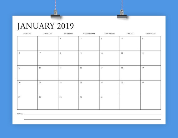 A4 2019 Calendar Template Instant Download 297 X 210 Mm