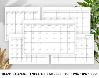 Blank Calendar Page Template Set   INSTANT DOWNLOAD   Includes 8.5x11, 11x17, 12x12 Square, 24x36, A4   S-S or M-S Monthly Print Ready Pages