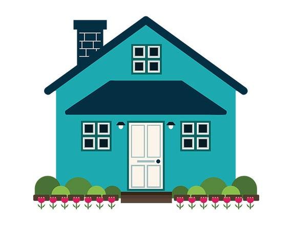 Geometric Modern House Clip Art Blue Home Front Yard