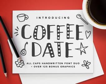Coffee Date Font Duo plus 125+ Bonus Graphics   OTF & TTF and WOFF   Fun Cute All Caps Handwritten Handmade Crafting Typeface