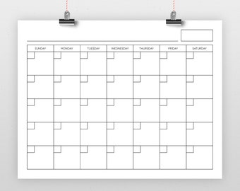 8.5 x 11 Inch Blank Calendar Page Template   INSTANT DOWNLOAD   Includes S-S or M-S Monthly Printable Desk Wall Calender Print Ready
