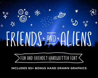 Friends and Aliens Font plus 65+ Bonus Graphics   OTF & TTF and WOFF   Fun and Friendly Tall Skinny Rounded Handwritten Handmade Typeface