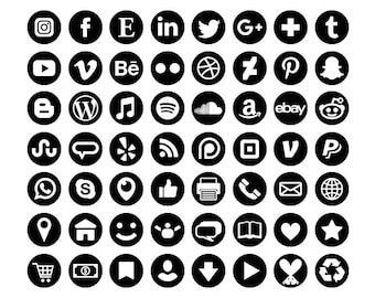Black Social Media Icons Set   PNG SVG VECTOR Transparent Round Circle Avatar Flat Color Buttons Blog Website   Digital Icons Commercial Use