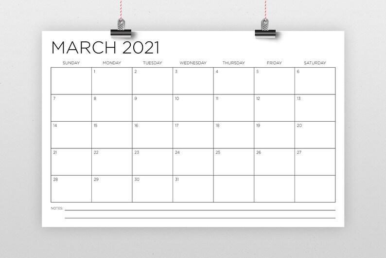 11 x 17 Zoll 2021 Kalender Vorlage INSTANT DOWNLOAD dünne ...