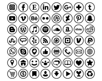 Circle Social Media Icons Set   PNG SVG VECTOR Transparent Round Black and White Flat Buttons Blog Website   Digital Icons   Commercial Use