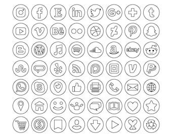 Sale - Circle Minimalist Outline Social Media Icons Set   PNG SVG VECTOR Transparent Round Flat Buttons Blog Website   Digital Icons