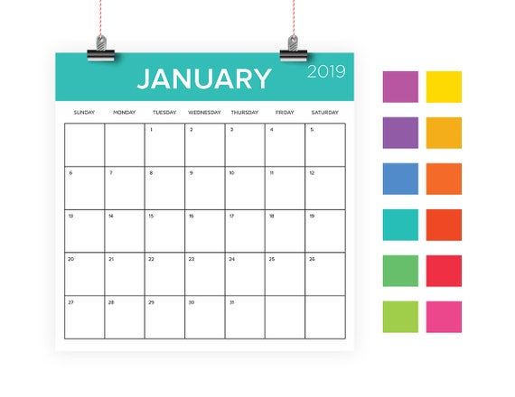 Square 2019 Calendar Template Instant Download Color Coded Etsy